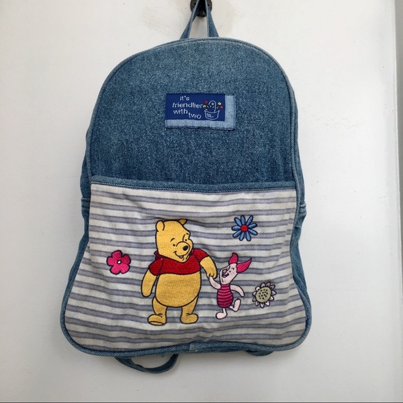 8d94e42b6c Disney Handbags - Vintage Denim Jean Winnie The Pooh Piglet Backpack